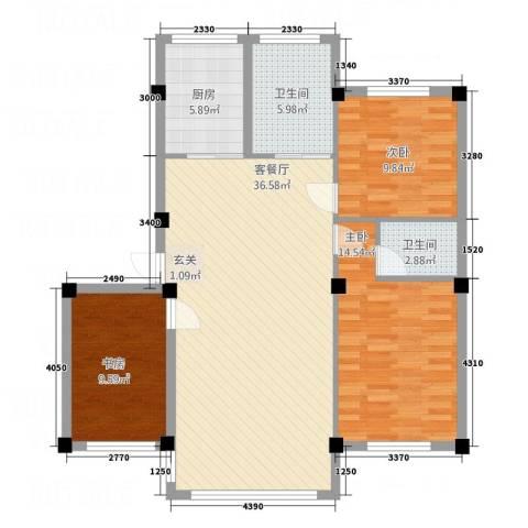 学府世家3室1厅2卫1厨118.00㎡户型图