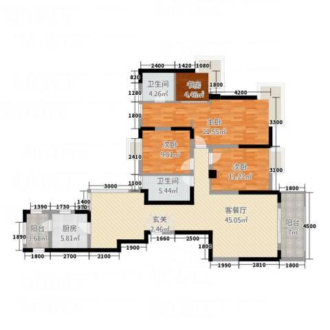 国贸天琴湾4室1厅2卫1厨118.28㎡户型图
