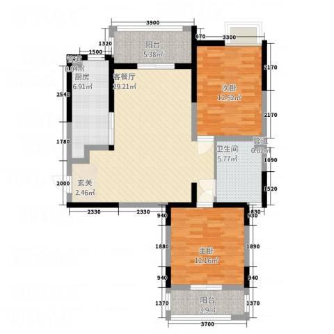 御景龙庭2室1厅1卫1厨75.91㎡户型图