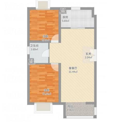 富地广场2室1厅1卫1厨87.00㎡户型图