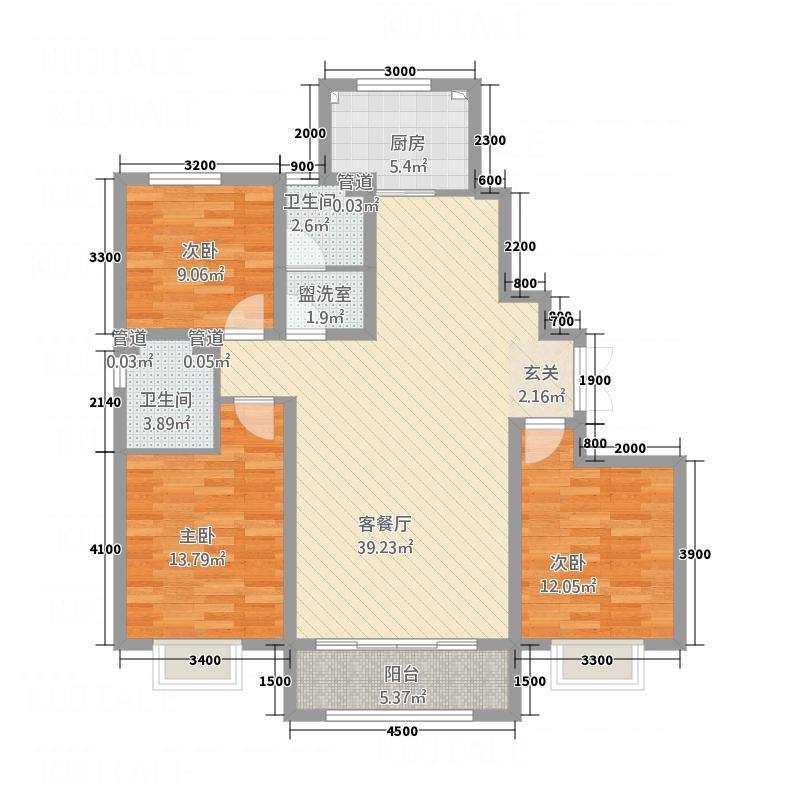 北新・佳境13.58㎡B1户型3室2厅2卫