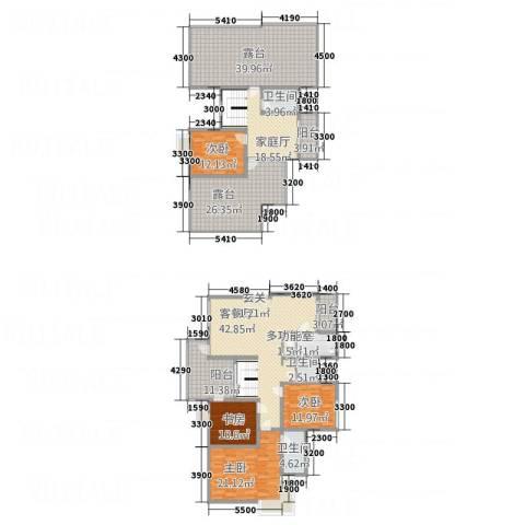 山海天4室1厅3卫1厨1418.00㎡户型图