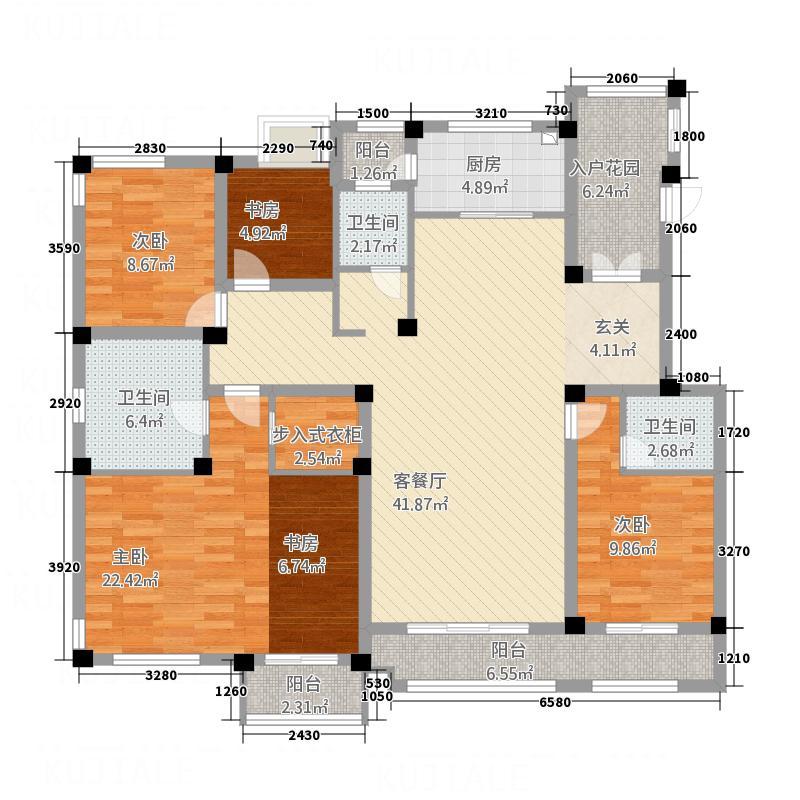 汇智津园177.84㎡C1标准层户型4室2厅3卫1厨