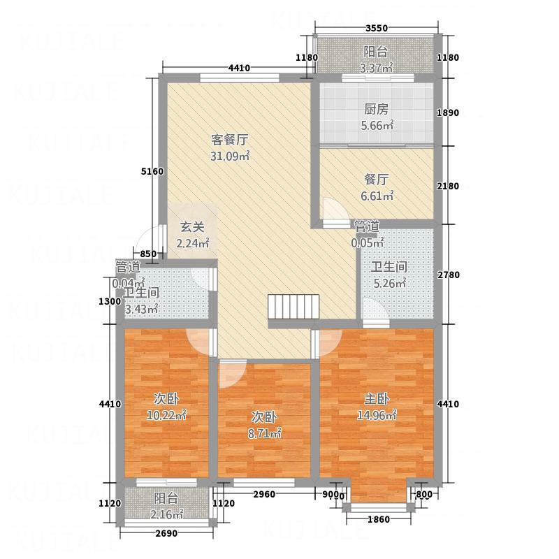 伊水华庭133.50㎡Eb户型3室2厅2卫1厨