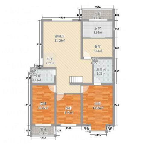 伊水华庭3室2厅2卫1厨134.00㎡户型图