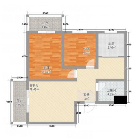 金穗西苑6#楼2室1厅1卫1厨71.68㎡户型图