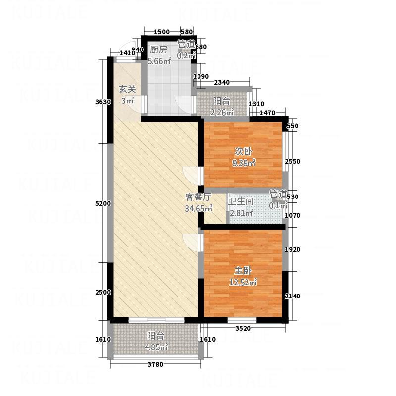 华松御苑15.00㎡C2-1户型2室2厅1卫1厨