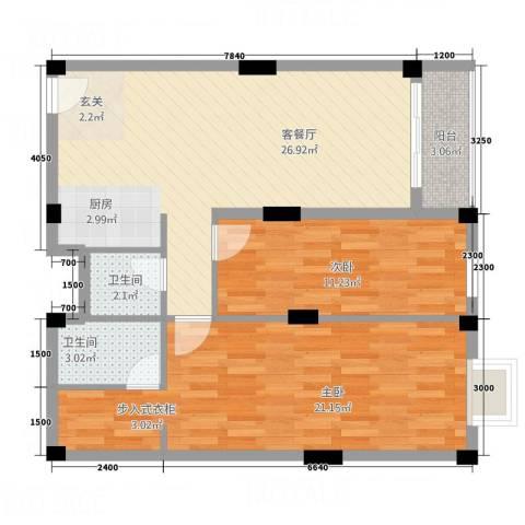 叠美居2室1厅2卫0厨74.00㎡户型图