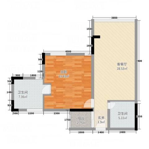 创富商务公寓1室1厅2卫0厨90.00㎡户型图