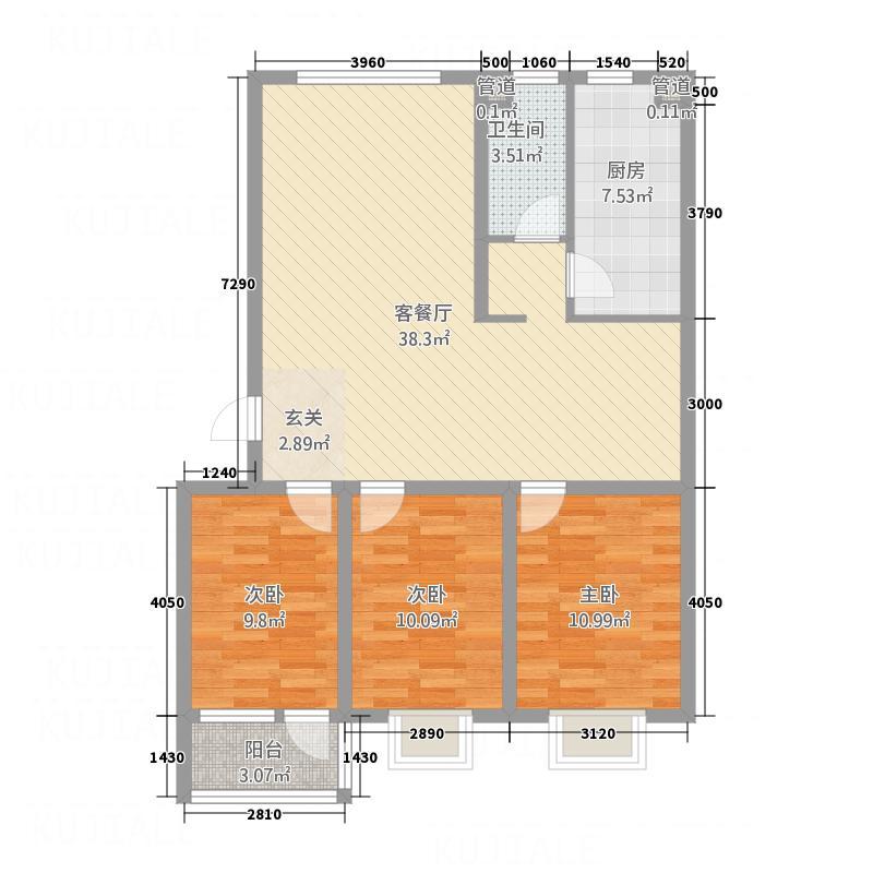 吉祥福海苑11.80㎡多层5户型3室2厅1卫1厨