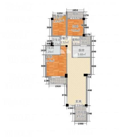 青年e家3室1厅2卫1厨122.00㎡户型图