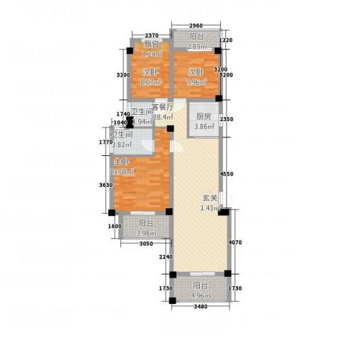 青年e家3室1厅2卫1厨115.00㎡户型图