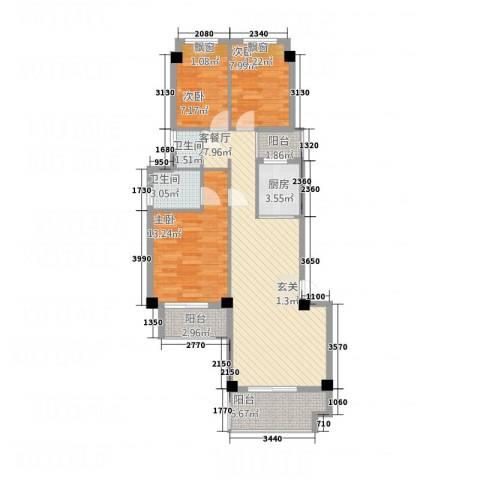 青年e家3室1厅2卫1厨108.00㎡户型图