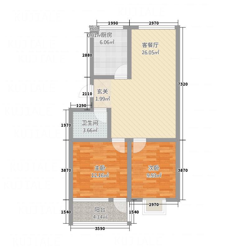 吉祥福海苑1.80㎡多层4户型2室2厅1卫1厨