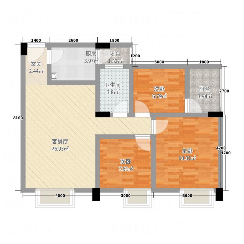 南门金座2.68㎡A4户型3室2厅2卫1厨
