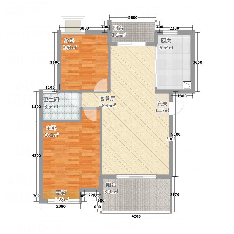 美岛86.52㎡小区黄石中央美地小区户型2室2厅1卫1厨