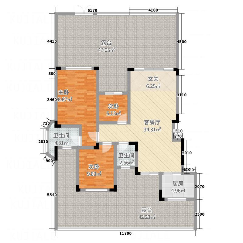 聚义香城故事124.00㎡户型3室