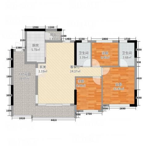 首誉3室1厅2卫1厨84.06㎡户型图