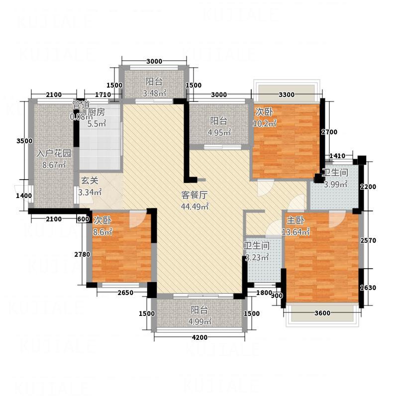 宝圆・财富广场3142.36㎡3栋02户型4室2厅2卫