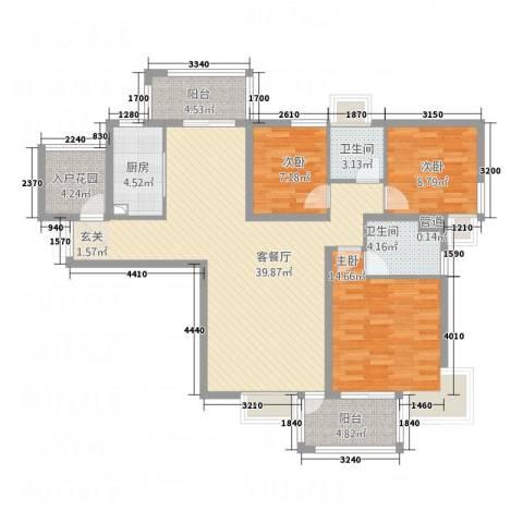 梅花新�3室1厅2卫1厨96.26㎡户型图