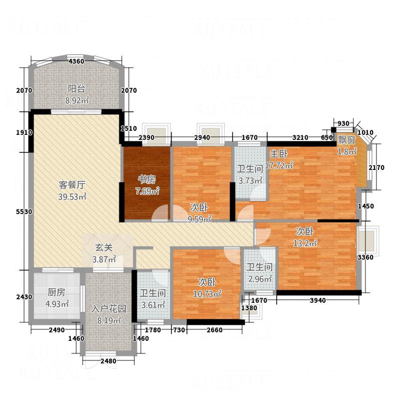 银地绿洲164.00㎡4栋水仙座07户型5室2厅3卫1厨