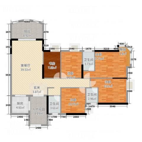 银地绿洲5室1厅3卫1厨164.00㎡户型图