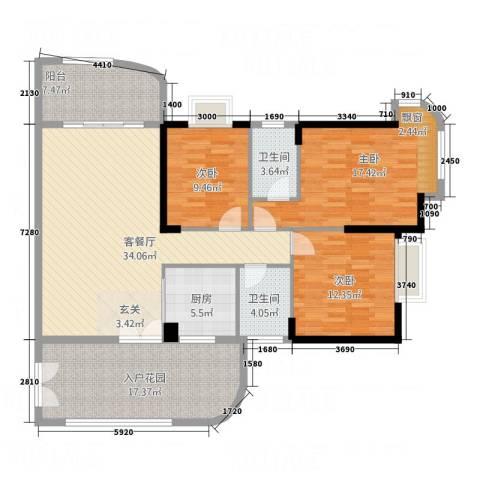 银地绿洲3室1厅2卫1厨127.00㎡户型图