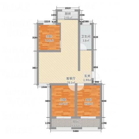 向阳小区3室1厅1卫1厨67.32㎡户型图