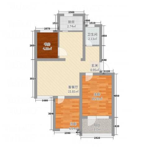 向阳小区3室1厅1卫1厨51.20㎡户型图