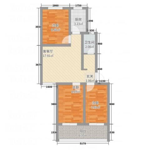 向阳小区3室1厅1卫1厨82.00㎡户型图