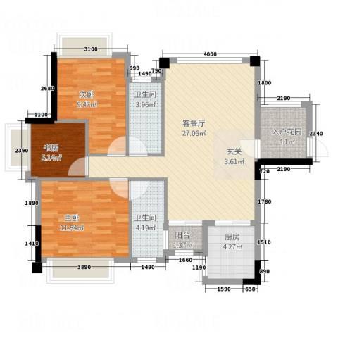 风度广场3室1厅2卫1厨93.00㎡户型图