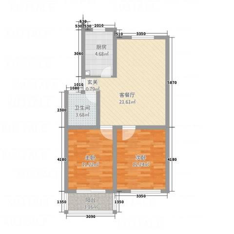 三里新城兰苑2室1厅1卫1厨82.00㎡户型图
