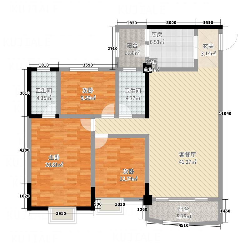 枫林水岸豪庭136.70㎡1#B单元0户型3室2厅2卫1厨