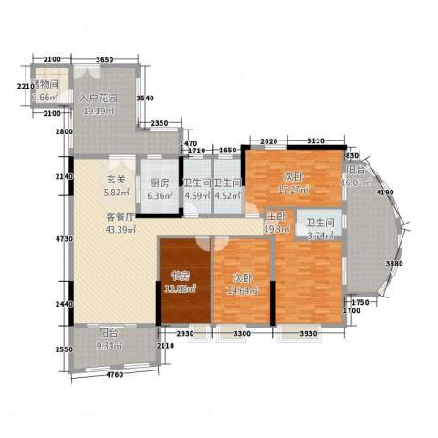 银地绿洲4室1厅3卫1厨175.07㎡户型图