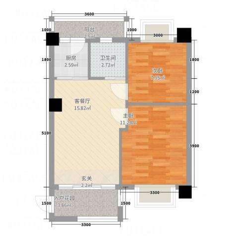 金色阳光雅居2室1厅1卫1厨68.00㎡户型图