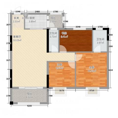 华英城三期3室1厅2卫1厨118.00㎡户型图