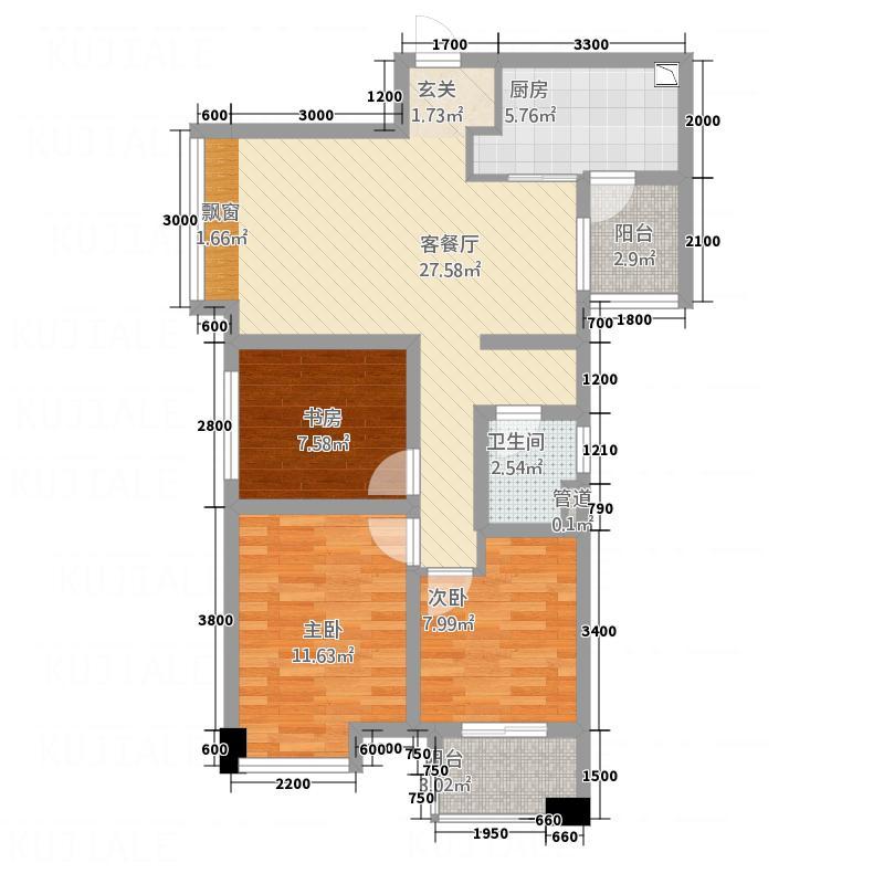 万科・金域东岸85.00㎡M3户型3室2厅1卫1厨