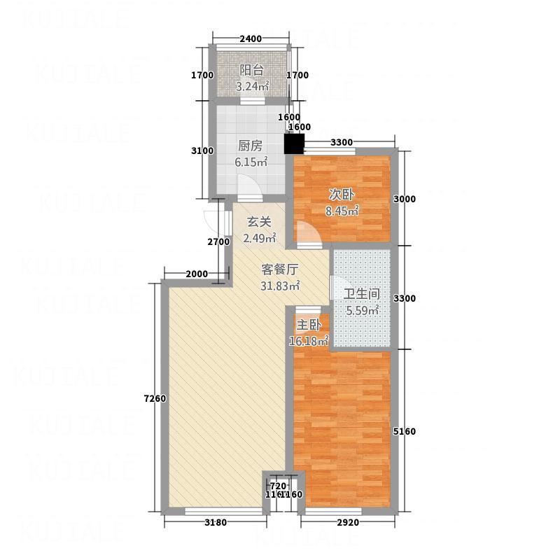 宝地-太阳广场户型2室2厅1卫1厨