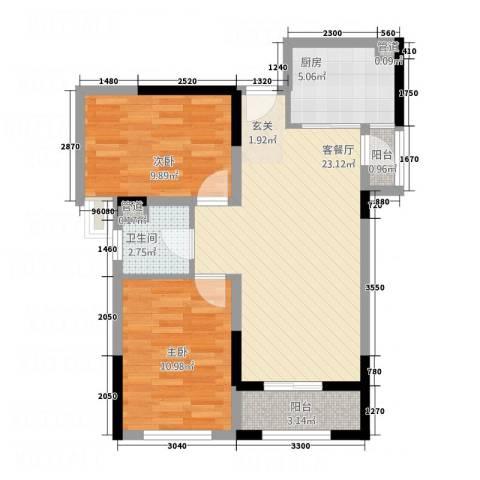 鼓楼上城2室1厅1卫1厨81.00㎡户型图