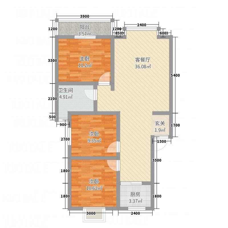 新航皂角新城7.16㎡C2户型3室2厅1卫1厨