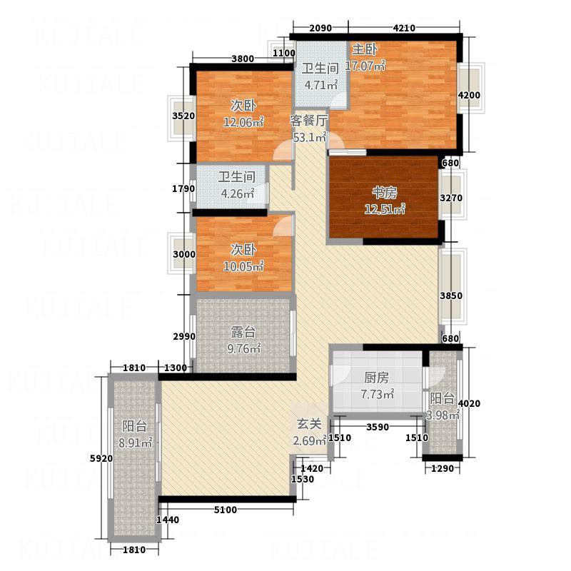 御景名城173.10㎡13、14栋户型4室2厅2卫1厨