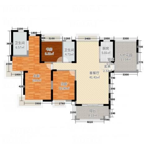 国贸天琴湾3室1厅2卫1厨130.45㎡户型图