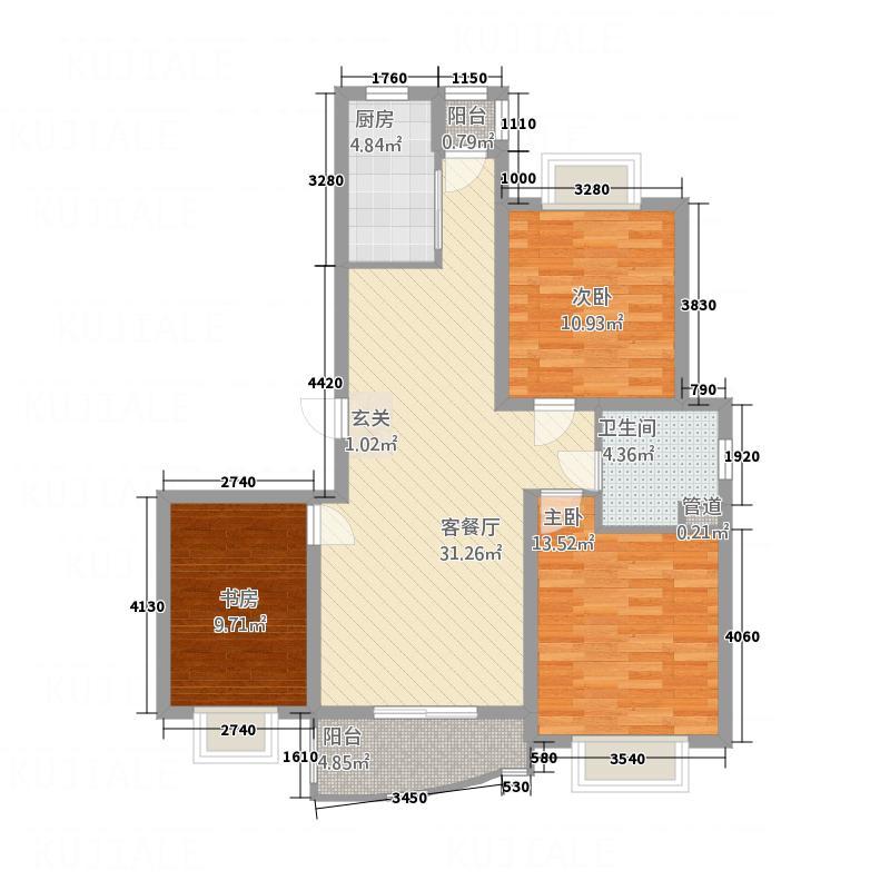 国际公馆117.00㎡户型3室2厅1卫1厨