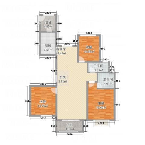 暨阳玫瑰城三期3室1厅2卫1厨106.62㎡户型图