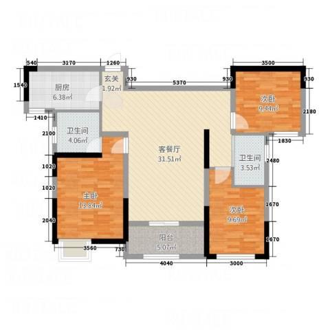 暨阳玫瑰城三期3室1厅2卫1厨116.00㎡户型图