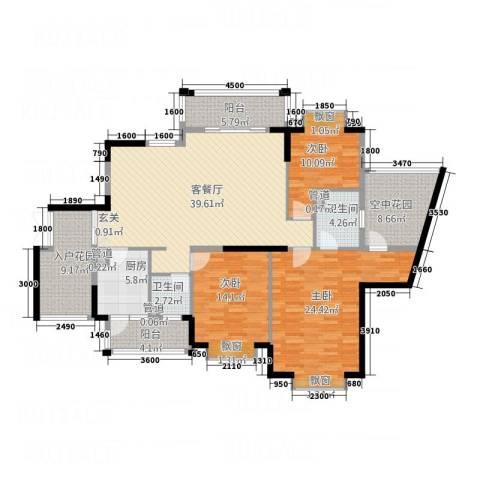 双源乐湖轩3室1厅2卫1厨182.00㎡户型图