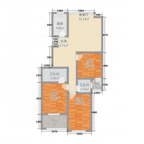 广济苑公寓3室1厅2卫1厨127.00㎡户型图