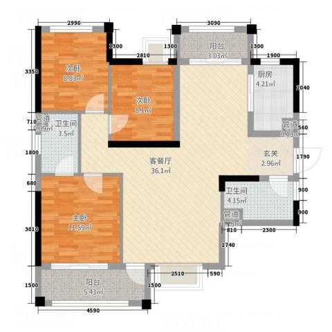 君�花园3室1厅2卫1厨85.40㎡户型图