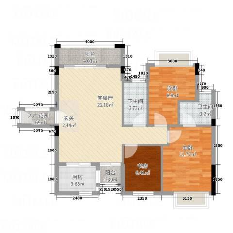 风度广场3室1厅2卫1厨102.00㎡户型图