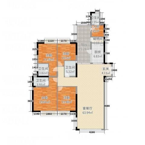 中天维港4室1厅4卫1厨218.00㎡户型图